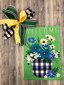Blue Plaid Welcome Garden flag + Bow Combo
