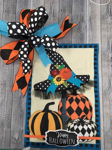 """Happy Halloween"" Witches Hat Flag and Bow"