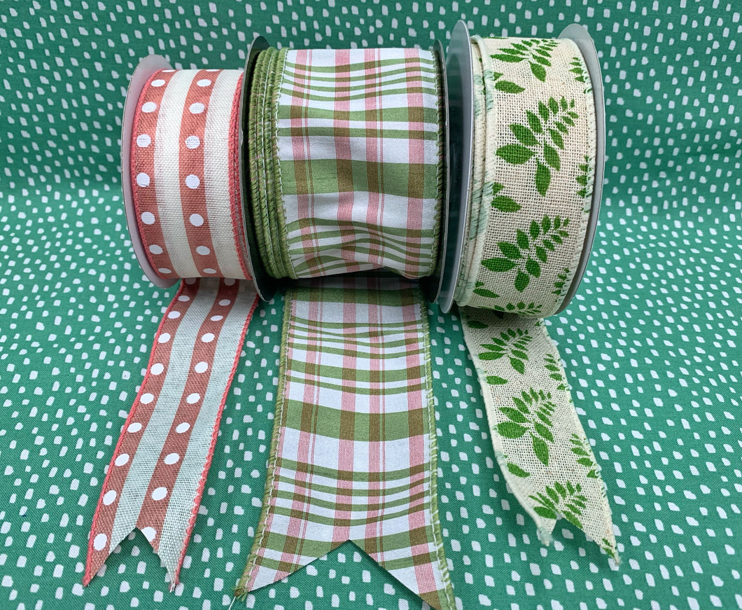 Coral Green Plaid Ribbon Set