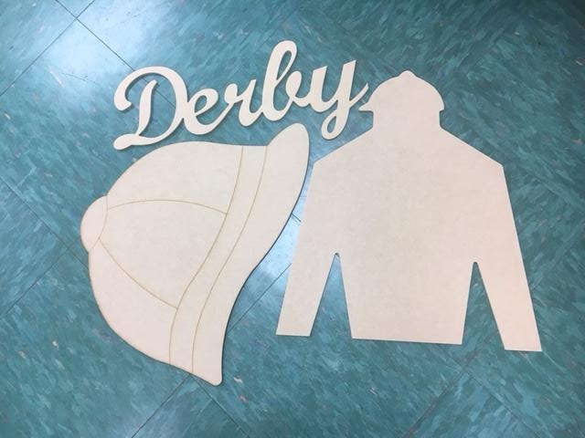 Unfinished Wood Cutout Set- DERBY