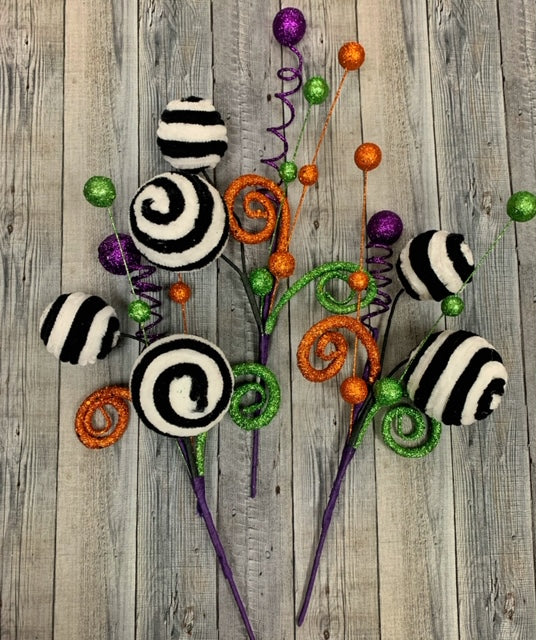 Set of 3 Black and White Glitter Halloween Stems