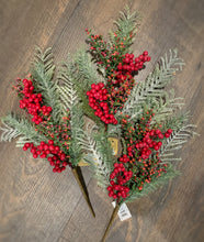 Load image into Gallery viewer, Set of 3 Frost Berry Pine Pick