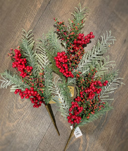 Set of 3 Frost Berry Pine Pick