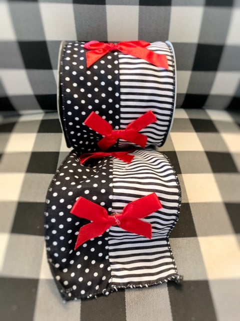 Black and White Red Bow Ribbon