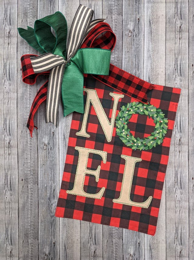 Plaid Noel Garden Flag & Bow