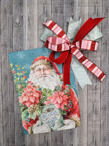 Santa Magic Garden Flag & Bow