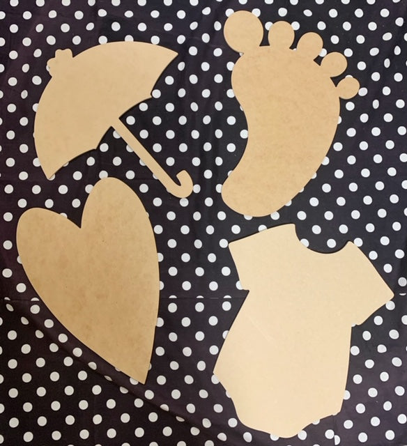 Unfinished Wood Cutout Set- BABY