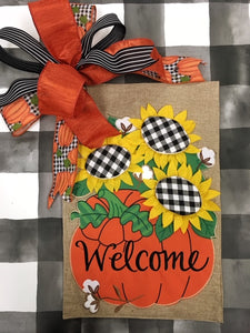 Check Sunflower Welcome Pumpkin Flag and Bow