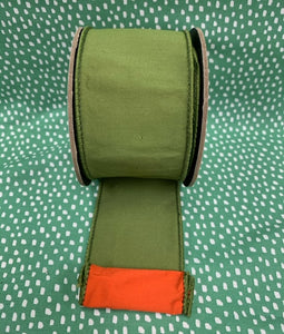Green with Orange back Faux Silk Dupioni Ribbon