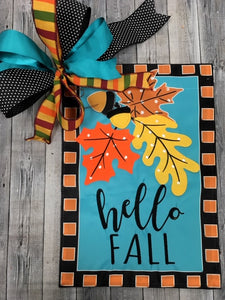Hello Fall Turquoise Flag and Bow