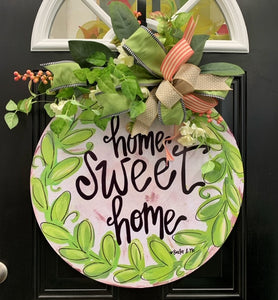 X-Large Home Sweet Home Door Hanger with Floral