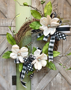 Made-Up Magnolia Black and White Wreath