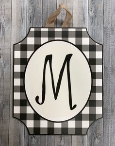 Black and White Check Door Sign