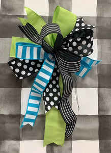 Pre-made Turquoise/Lime/Black Bow