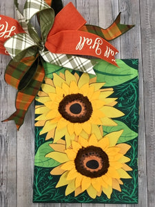 Double Sunflower on Green Flag and Bow