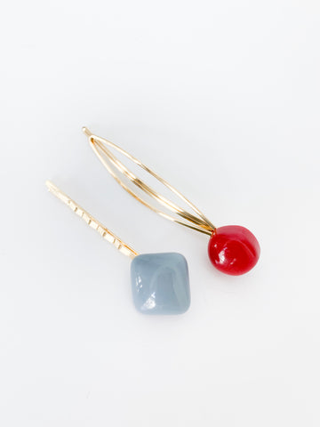 Gabby Hair Pins (Red + Baby Blue)