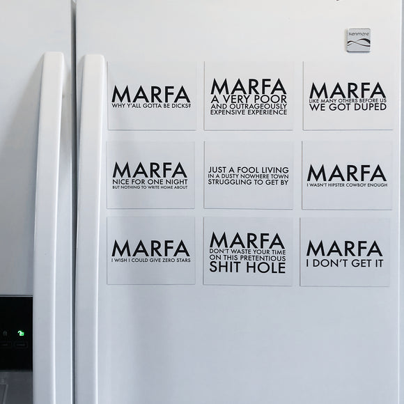Marfa: We Are Hated On Yelp 4x6 Fridge Magnets