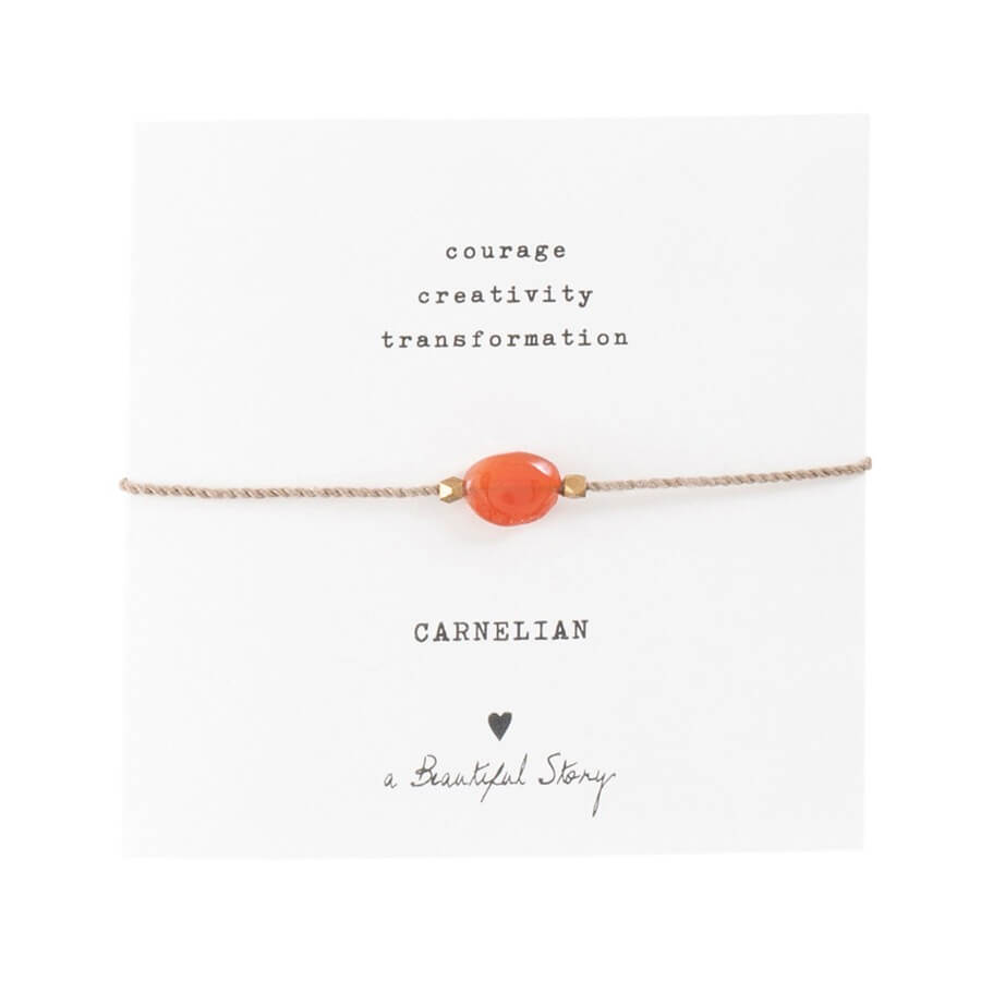 A Beautiful Story - Gemstone Card Carnelian Gold Bracelet - INGAR
