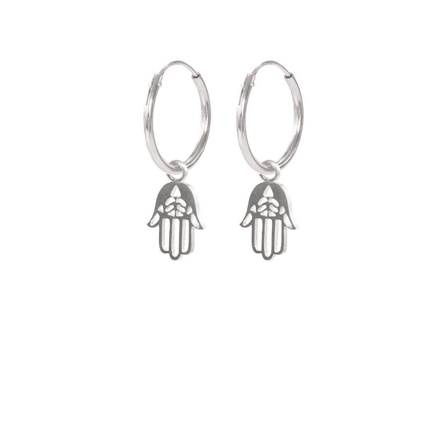 A Beautiful Story - Hamsa Hand Earrings Sterling Silver - INGAR