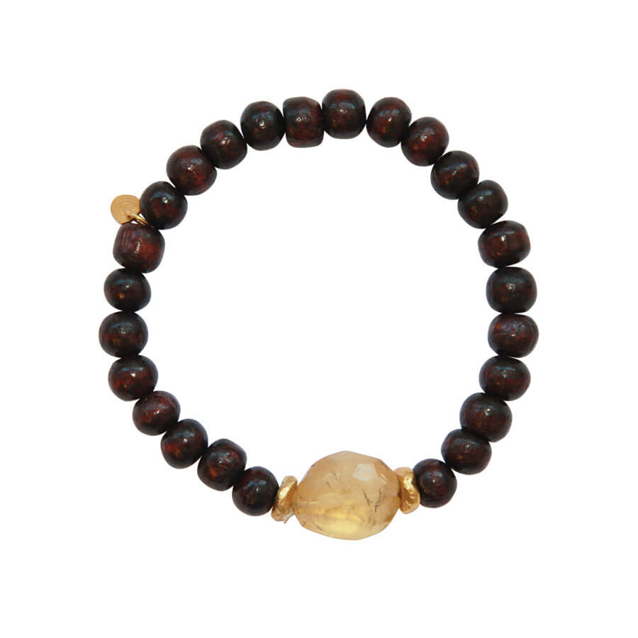 A Beautiful Story - Mala Citrine Rose Wood Bracelet - INGAR