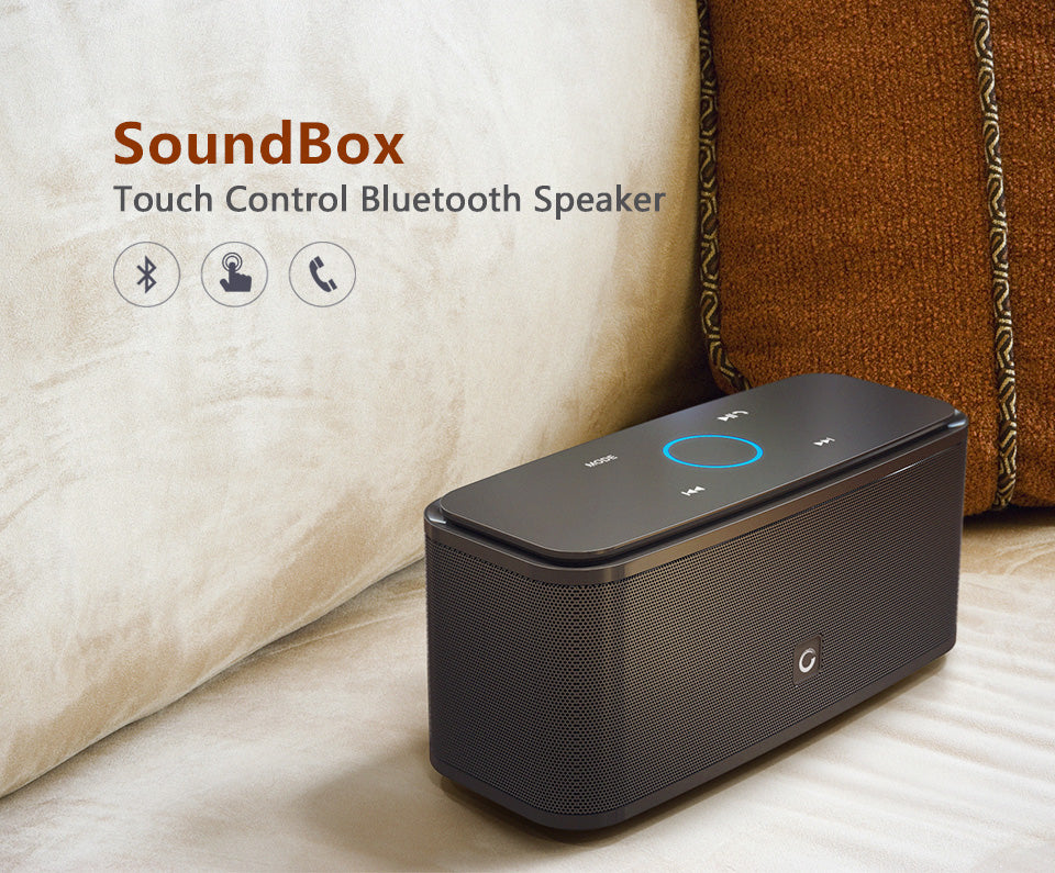 DOSS SoundBox Touch Control Bluetooth Speaker 2*6W Portable Wireless Speakers Stereo Sound Box with Bass and Built-in Mic