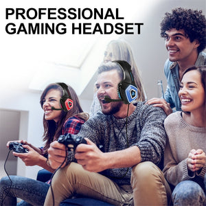 Hunterspider V1 Gaming Headset Over ear headphones wired control with Mic LED Light Casque Gamer Headset for PC PS4 Xbox One