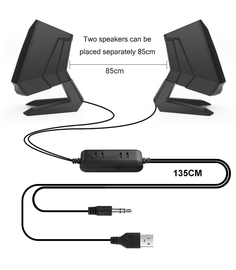 1 Pair Wired Computer Speakers USB AUX Bass Reinforcement PC Speaker for Laptop Desktop Phone 6W Audio Multimedia Loudspeaker