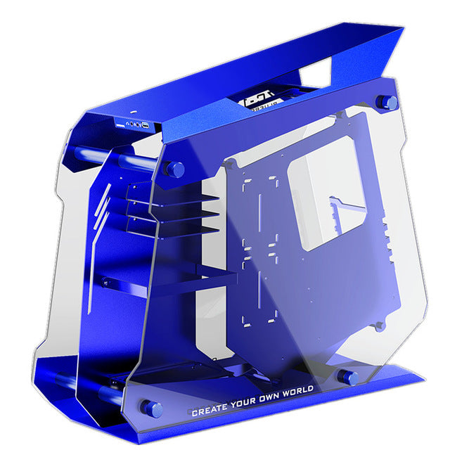 Zeaginal Blueberry Flashes Gaming ATX Case Full Aluminum+Tempered glass MOD Water Cooling Gamer Case Desktop