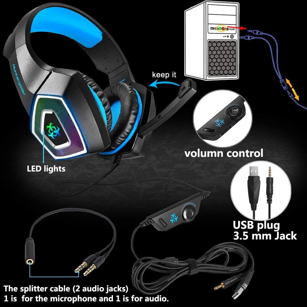 TTKK Hunterspider Gaming Headset For PS4, 3.5Mm Stereo Sound Cable Headset With Microphone Colorful LED Light Headphones