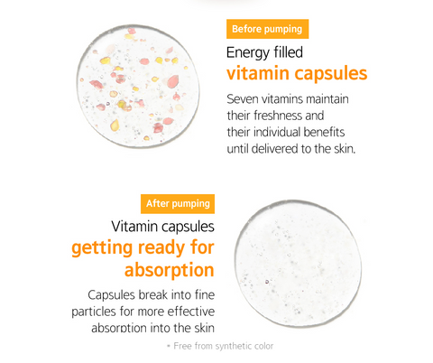 before and after pumping vital vitamin essence | K-Beauty Blossom USA