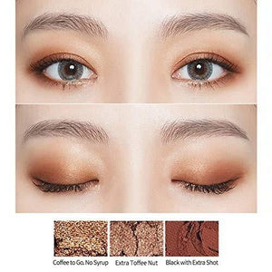example of how to apply Etude House play color eyes caffeine holic | K-Beauty Blossom USA