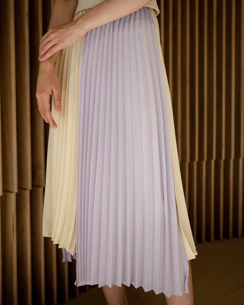Lilac & Yellow Pleated Skirt