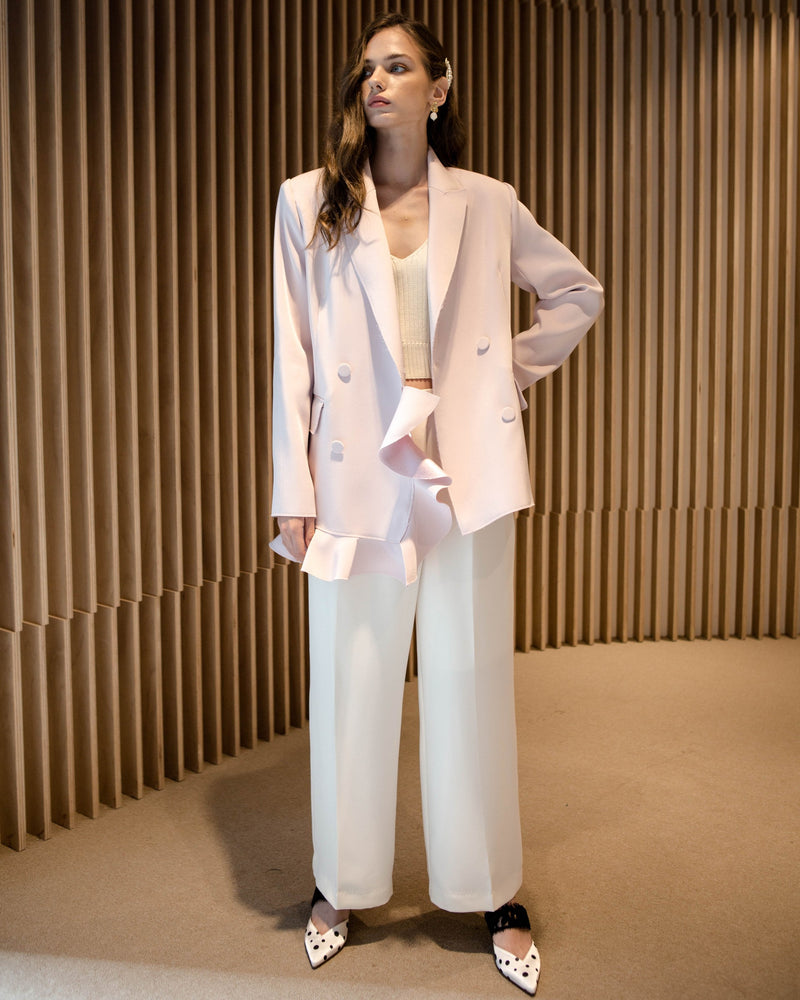 Pale Pink Double-Breasted Blazer
