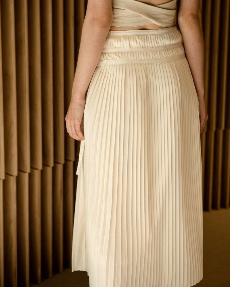 Cream Pleated Wrap Skirt