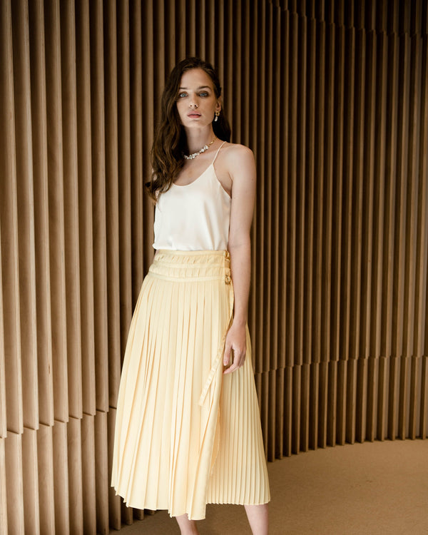 Marigold Pleated Wrap Skirt