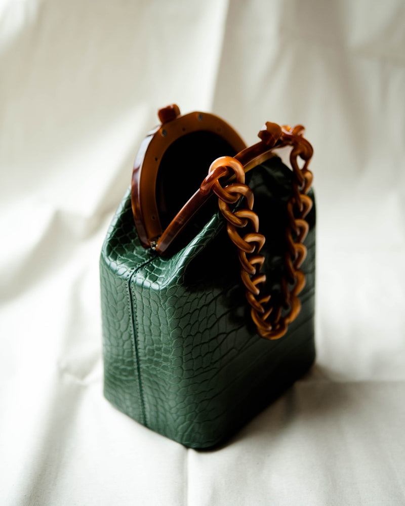 Green Mock Croc Frame Bag