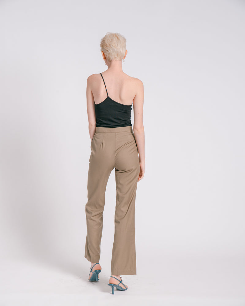 Dark Khaki Suit Pants