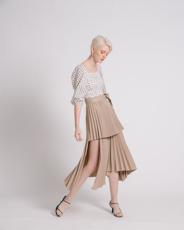 [Pre-order] Khaki Asymmetric Pleated Wrap Skirt