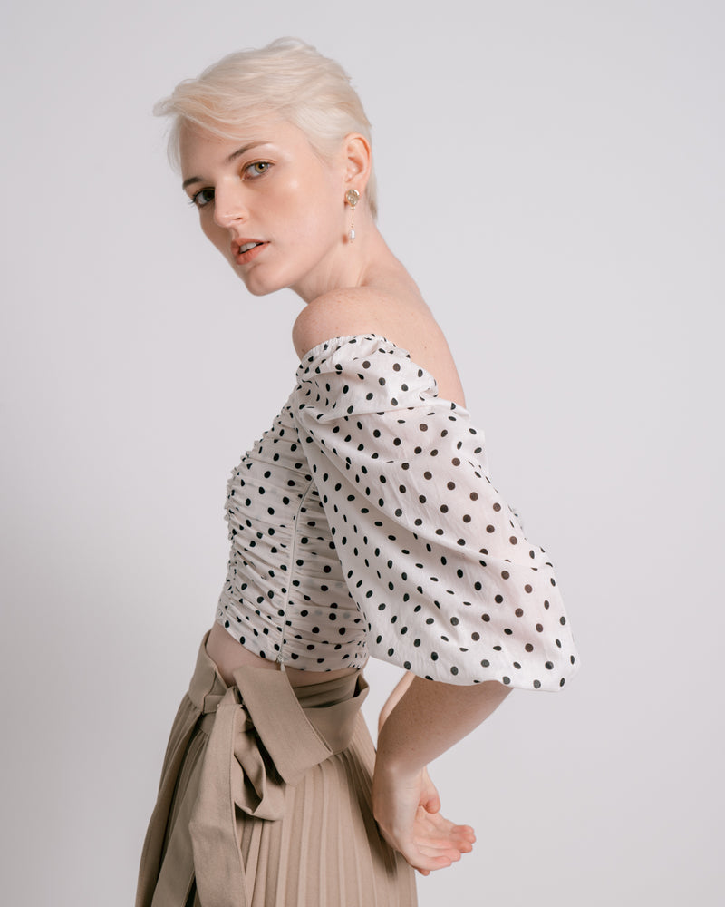 Polka Dot Shirring Crop Top