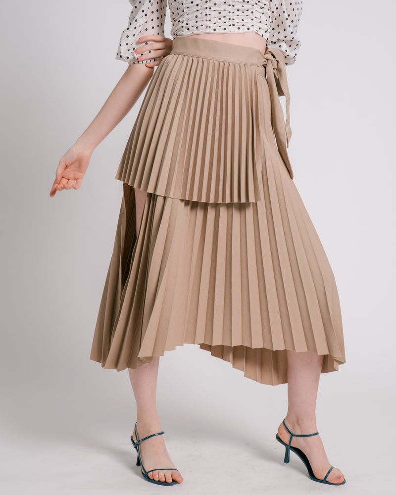 Khaki Asymmetric Pleated Wrap Skirt