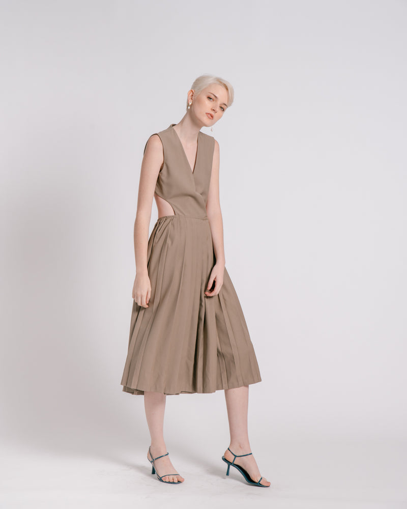Dark Khaki Pleated Wrap Dress