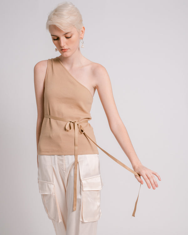 Camel One-Shoulder Top