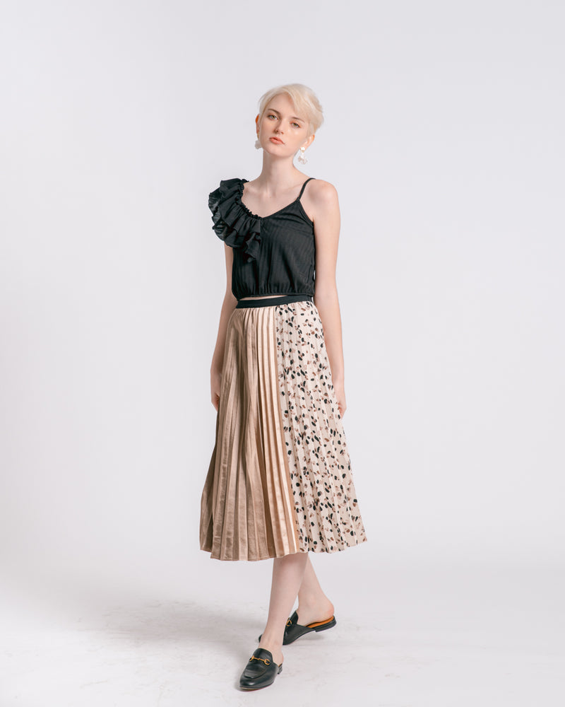 Mixed Print Pleated Skirt