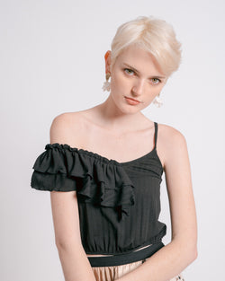 Black Seersucker Ruffled Crop Top