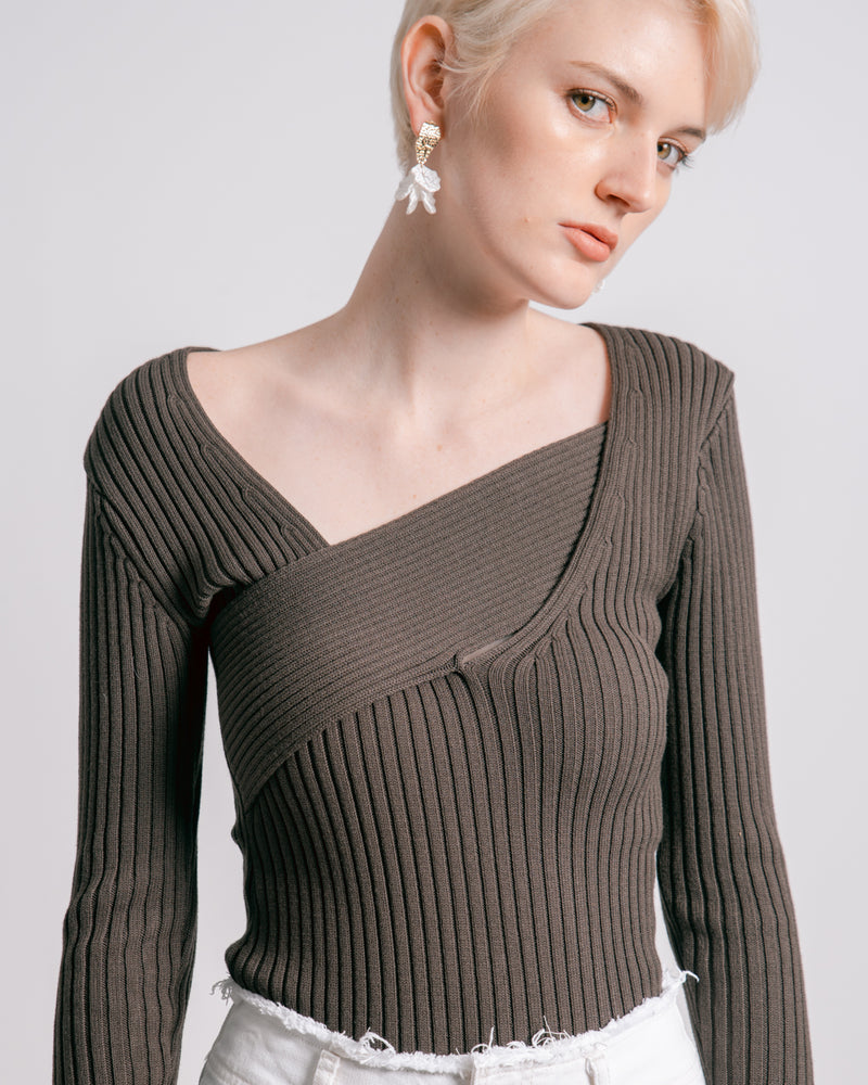 Dark Brown Asymmetric Band Knit Top