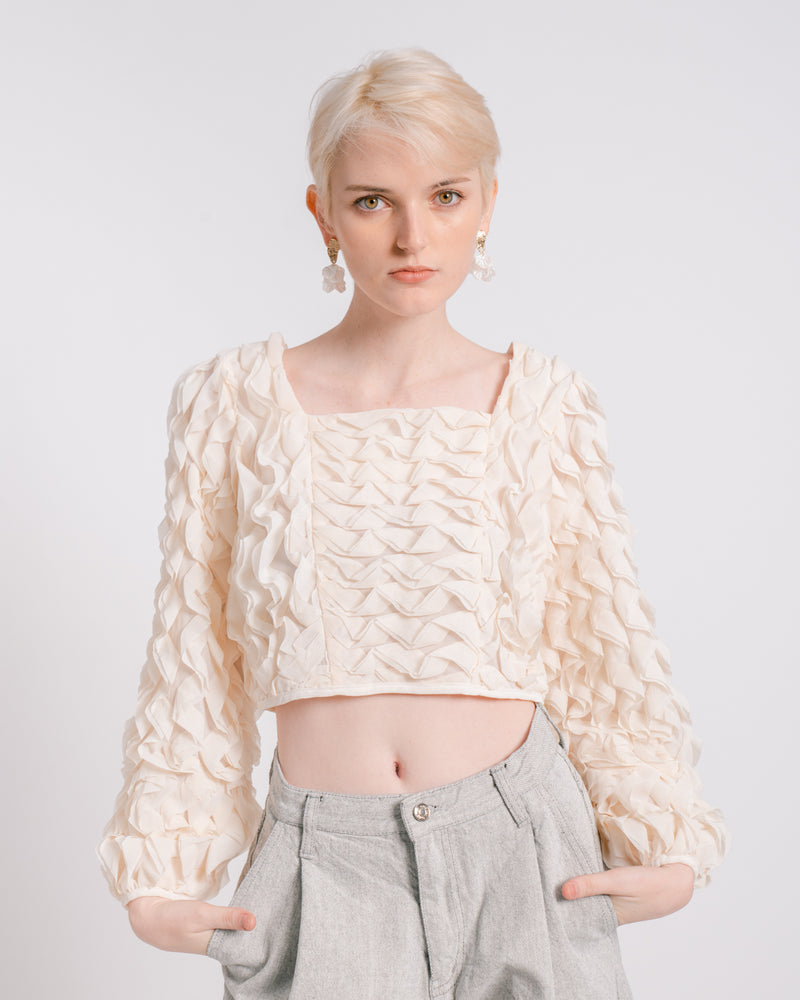 Ivory Crinkled Chiffon Crop Top