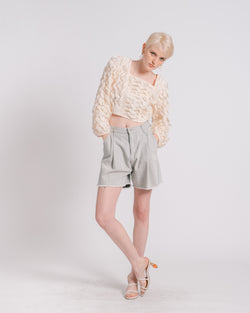 Grey Raw Hem Pleated Denim Shorts