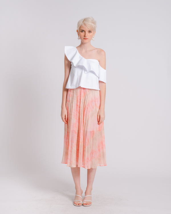 Tie-Dye Pleated Chiffon Midi Skirt