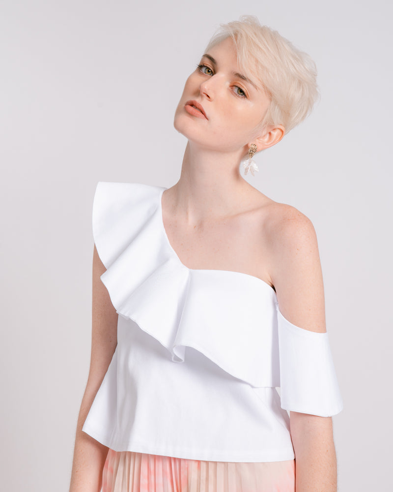 White Ruffled One-Shoulder Top