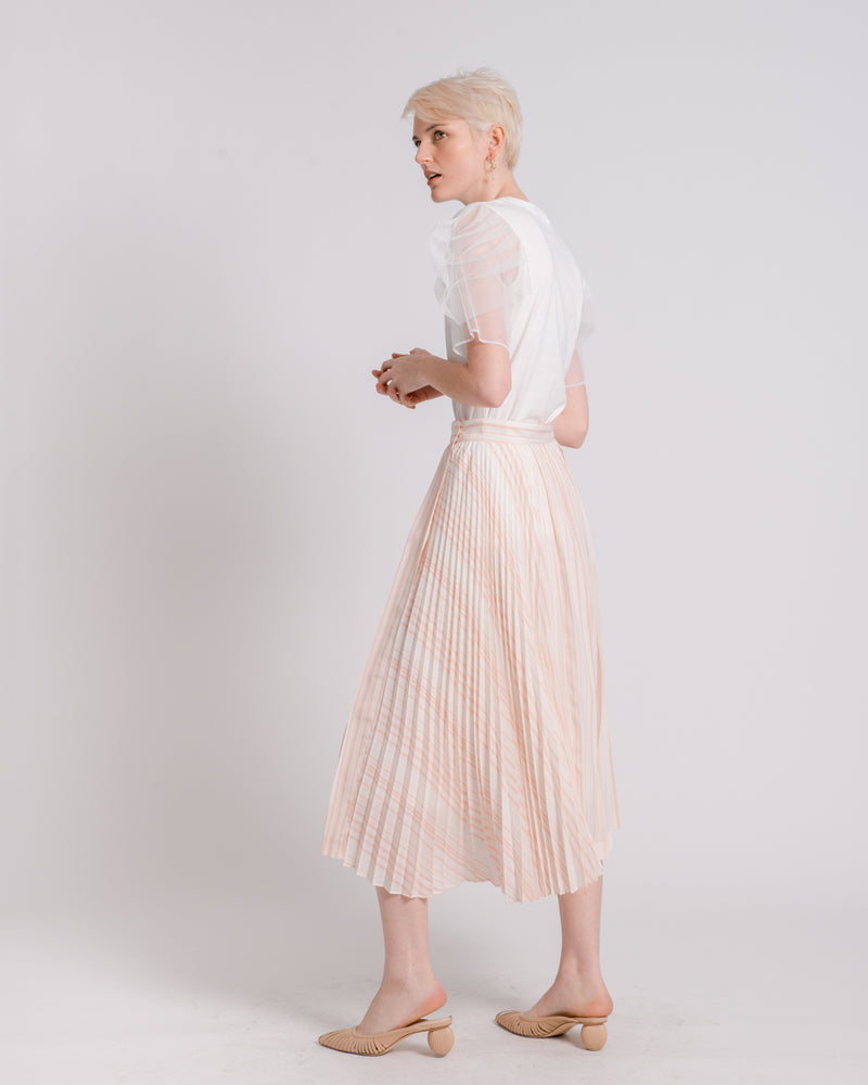 Pink & White Striped Wrap Skirt